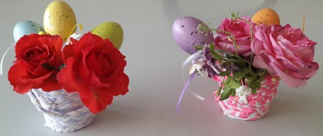 Canastas de Pascua con flores